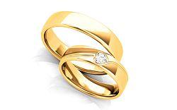 Unikátne svadobné obrúčky s heart diamantom 0,100 ct šírka 5 mm STOBR295