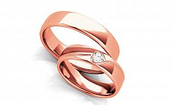 Unikátne svadobné obrúčky s heart diamantom 0,100 ct šírka 5 mm STOBR295R