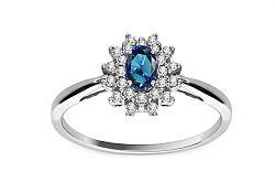 Zafírový prsteň s diamantmi 0,200 ct Jeyne 2 KU110A