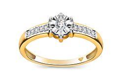 Zásnubný prsteň Magic Bloom s diamantmi 0,120 ct KU216