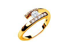 Zásnubný prsteň s diamantmi 0,190 ct Lines Of Love 6 Yellow LRBR026Y