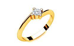 Zásnubný prsteň s diamantom 0,090 ct Lines Of Love 2 Yellow LRBR022Y