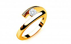 Zásnubný prsteň s diamantom 0,090 ct Lines Of Love 3 Yellow LRBR019Y