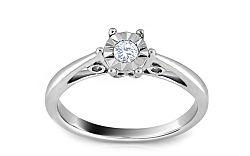 Zásnubný prsteň s diamantom 0,090 ct Secret Illusion KU238