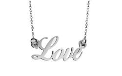 Zlatá biela retiazka s nápisom Love IZ7575A