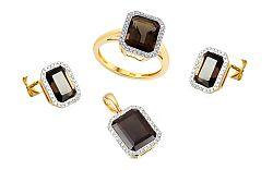 Zlatá diamantová súprava s dymovým quartzitom IZBR137S