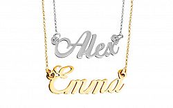 Zlatá dvojitá retiazka s menami Emma a Alex kombinovaná IZ9077AE