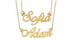 Zlatá dvojitá retiazka s menami Sofia a Adam IZ9076SA