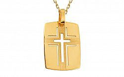 Zlatá platnička vyrezávaný krížik s matovaním IZ9046
