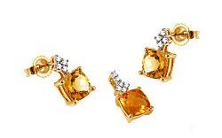 Zlatá súprava s briliantmi a citrínmi KU315CTS