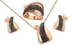 Zlatá súprava s čiernymi diamantmi IZBR081RS