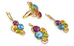 Zlatá súprava s diamantmi a drahými kameňmi Dayana IZBR283S