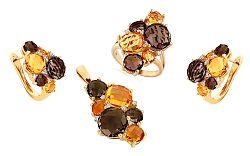 Zlatá súprava s diamantmi a drahými kameňmi Liesse IZBR088YS