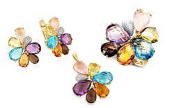 Zlatá súprava s drahými kameňmi a diamantmi Shera IZBR214S