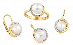 Zlatá súprava s perlami a briliantmi IZBR127S