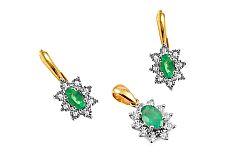 Zlatá súprava so smaragdom a diamantmi Clarisse IZBR181SU