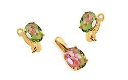 Zlatá súprava so zeleno-ružovými zirkónmi IZ11248S