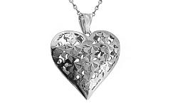 Zlaté biele srdce s kvetinkovým vzorom IZ8908A