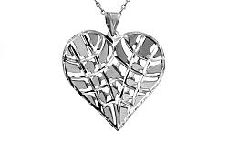 Zlaté biele srdce so vzorom IZ8918A