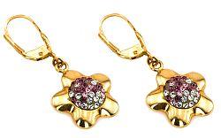 Zlaté dámske náušnice kvet IZ1548