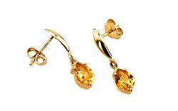 Zlaté dámske náušnice s citrínom Brigitte IZ6233