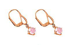 Zlaté dámske náušnice s ružovým quartzitom Adeline IZ6263