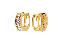 Zlaté dievčenské náušnice krúžky so zirkónmi IZ11364