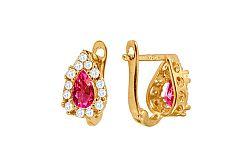 Zlaté dievčenské náušnice kvapky s ružovými kamienkami IZ10370RU