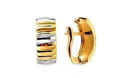 Zlaté dvojfarebné náušnice k uchu s gravírom IZ10679