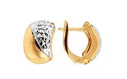 Zlaté dvojfarebné náušnice k uchu s trblietavým gravírom IZ11357