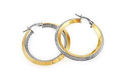 Zlaté dvojfarebné náušnice kruhy s antickým vzorom 3,2 cm IZ10299