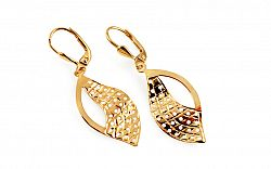 Zlaté dvojfarebné visiace náušnice zdobené IZ7396Y