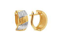 Zlaté kombinované náušnice k uchu s gravírom IZ8870