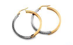 Zlaté kombinované náušnice kruhy s antickým vzorom 3,4 cm IZ10212