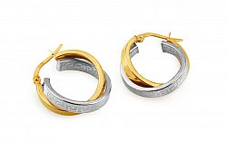 Zlaté kombinované náušnice krúžky s antickým vzorom IZ10301