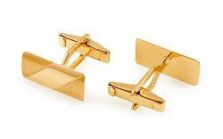 Zlaté manžetové gombíky obdĺžnikové s matovaním IZ11498