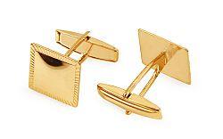 Zlaté manžetové gombíky štvorcové s gravírovanými okrajmi IZ11503