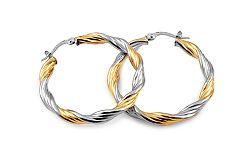 Zlaté náušnice dvojfarebné točené kruhy 3,2 cm IZ10295