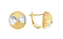 Zlaté náušnice k uchu dvojfarebné polgule IZVY029