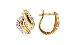 Zlaté náušnice k uchu so zirkónmi IZ10385