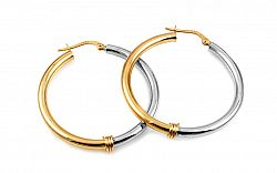 Zlaté náušnice kombinované kruhy 3,5 cm IZ10282