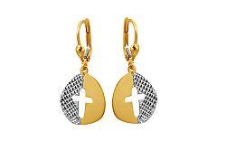 Zlaté náušnice krížiky s gravírom IZ9544