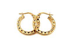 Zlaté náušnice kruhy s vybíjaným vzorom 2,2 cm IZ10307
