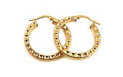 Zlaté náušnice kruhy s vybíjaným vzorom 2,7 cm IZ10308