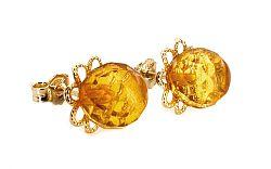 Zlaté náušnice napichovacie s jantárom kvet IZ5703