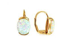 Zlaté náušnice s bielým opálom Opaline IZ11024NL