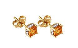 Zlaté náušnice s briliantmi a citrínmi KU321CT