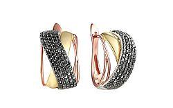 Zlaté náušnice s čiernymi diamantmi 1,340 ct IZBR123NC