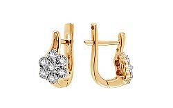 Zlaté náušnice s diamantmi 0.130 ct Sparkling Flowers KU529