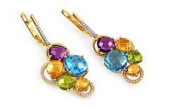 Zlaté náušnice s diamantmi a drahými kameňmi Dayana IZBR283N